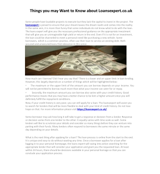 Things you may Want to Know about Loansexpert.co.uk