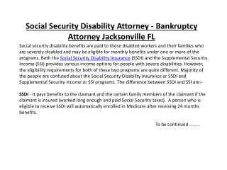 Social Security Disability Attorney - Bankruptcy Attorney Ja