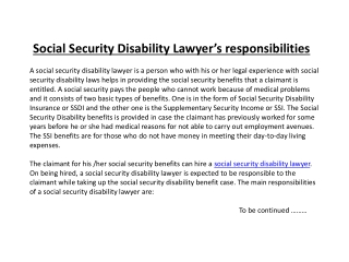 Social Security Disability Lawyer's responsibilities