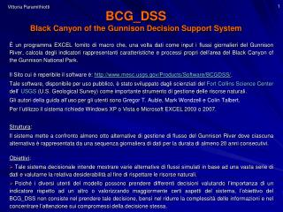 BCG_DSS  Black Canyon of the Gunnison Decision Support System