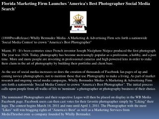 Florida Marketing Firm Launches 'America's Best Photographer