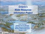 Ontario s Water Resources  Information Project