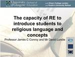 The capacity of RE to introduce students to religious language and concepts