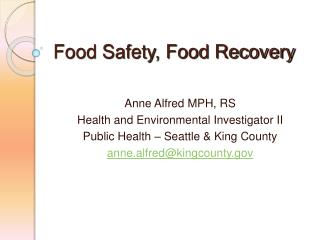 Food Safety, Food Recovery