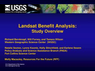 Landsat Benefit Analysis: Study Overview