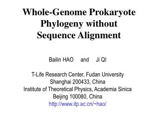 Whole-Genome Prokaryote Phylogeny without Sequence Alignment