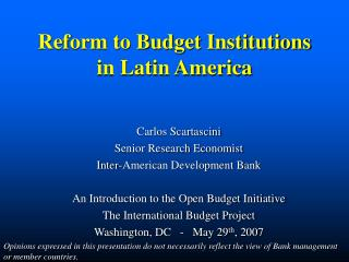 Reform to Budget Institutions in Latin America