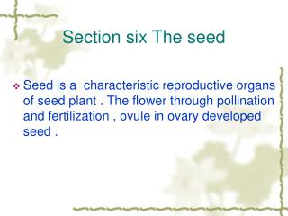 Section six The seed