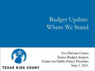 Budget Update: Where We Stand