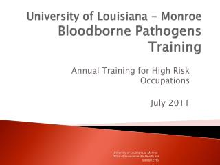 University of Louisiana - Monroe Bloodborne Pathogens Training