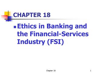 Ethics in Banking and the Financial-Services Industry FSI