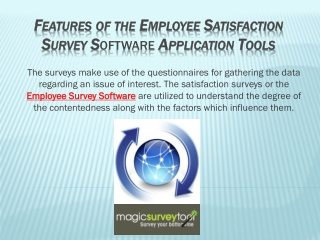 FEATURES OF THE EMPLOYEE SATISFACTION SURVEY Software APPLIC
