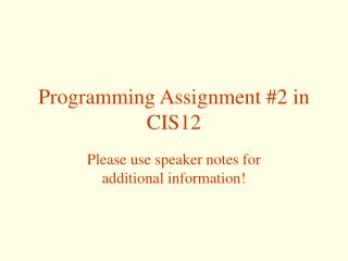 Programming Assignment 2 in CIS12