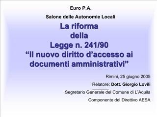 La riforma  della  Legge n. 241