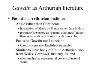 Gawain as Arthurian literature
