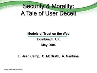 Security  Morality: A Tale of User Deceit