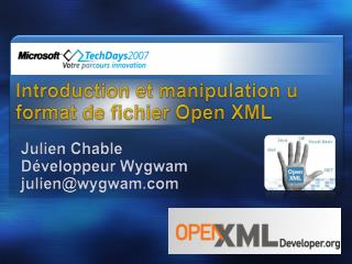 Introduction et manipulation u format de fichier Open XML
