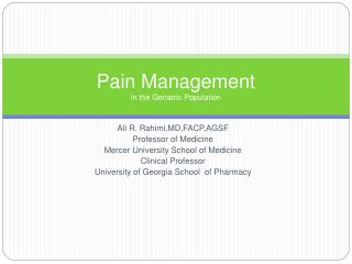 Pain Management in the Geriatric Population