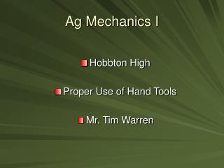 Ag Mechanics I