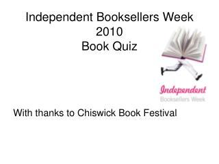Independent Booksellers Week 2010 Book Quiz