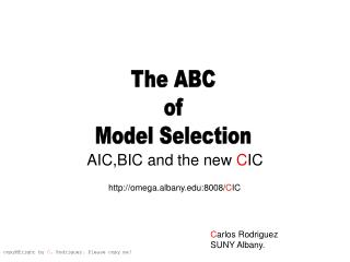AIC,BIC and the new CIC