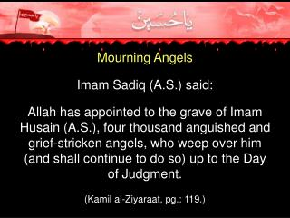 Mourning Angels  Imam Sadiq A.S. said:   Allah has appointed to the grave of Imam Husain A.S., four thousand anguished a