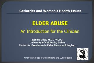 ELDER ABUSE An Introduction for the Clinician