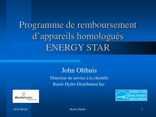 Programme de remboursement d appareils homologu s ENERGY STAR