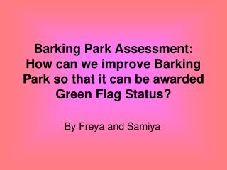 Barking Park Assessment: How can we improve Barking Park so that it can be awarded Green Flag Status