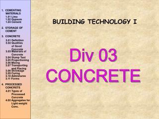 Div 03 CONCRETE