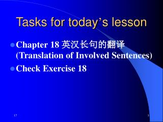 Tasks for today s lesson