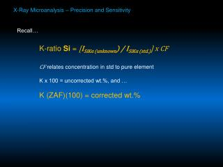 X-Ray Microanalysis   Precision and Sensitivity