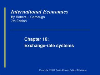 International Economics By Robert J. Carbaugh 7th Edition