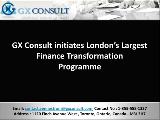 GX Consult initiates London's Largest Finance Transformation