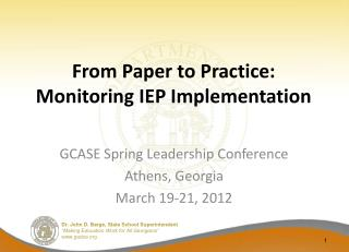 From Paper to Practice: Monitoring IEP Implementation