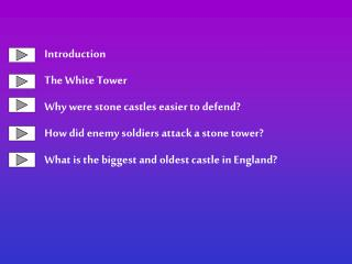 Introduction The White Tower Why were stone castles easier to defend How did enemy soldiers attack a stone tower What is