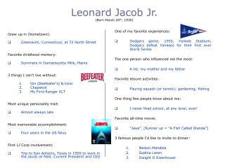 Leonard Jacob Jr. Born March 20th, 1930