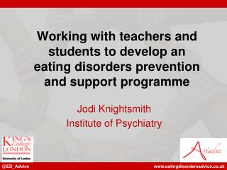Working with teachers and students to develop an  eating disorders prevention  and support programme