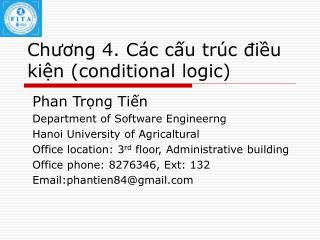 Chuong 4. C c cu tr c diu kin conditional logic