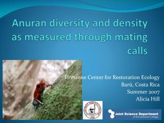 Anuran diversity and density as measured through mating calls