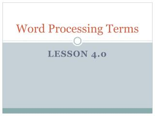 Word Processing Terms