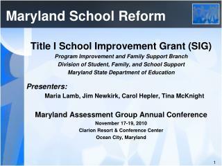 Maryland School Reform