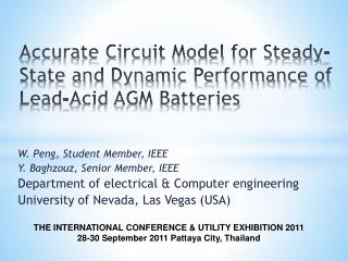Accurate Circuit Model for Steady-State and Dynamic Performance of Lead-Acid AGM Batteries