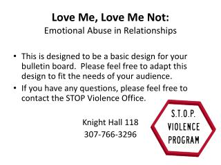 Love Me, Love Me Not:  Emotional Abuse in Relationships