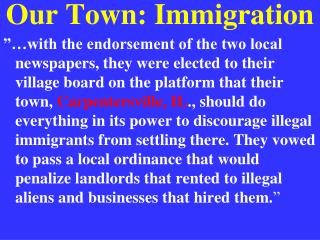 Our Town: Immigration