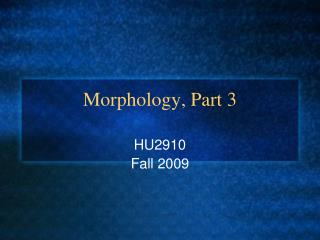 Morphology, Part 3