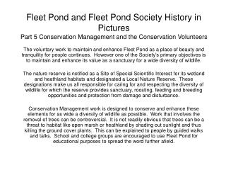 Fleet Pond and Fleet Pond Society History in Pictures Part 5 Conservation Management and the Conservation Volunteers
