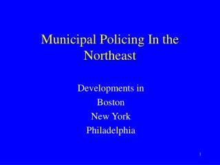 Municipal Policing In the Northeast