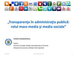 Transparenta  n administratia publica: rolul mass-media si media sociale