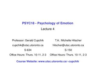 PSYC18 - Psychology of Emotion Lecture 4
